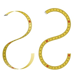 Set of curved measuring tapes on white background vector