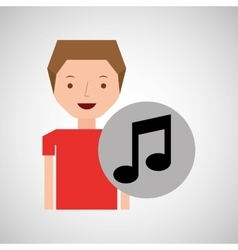 young boy music note concept vector image