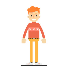 young smiling redheaded guy character vector image vector image