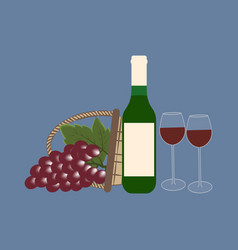 bottle of wine and grapes vector image vector image