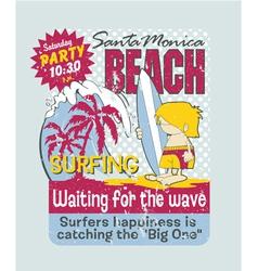 California surfing boy vector image vector image