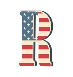 capital 3d letter r with american flag texture vector image vector image