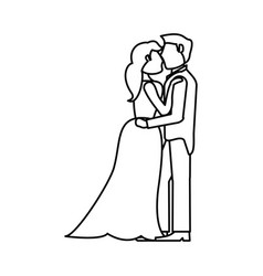 couple embraced wedding romantic outline vector image