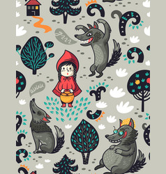 Cute little girl and gray hungry wolf vector