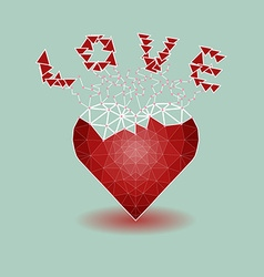Low polygonal of red heart that growing to be love vector image vector image