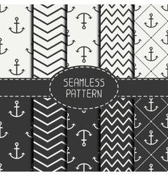 Set of monochrome marine geometri seamless pattern vector image