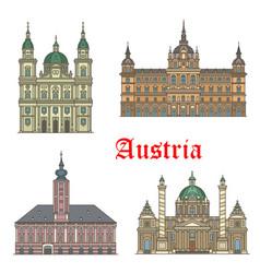 austrian travel landmarks of architecture icon set vector image vector image