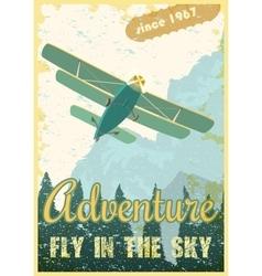 Biplane retro poster vector image vector image