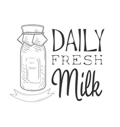 Daily fresh milk product promo sign in sketch vector