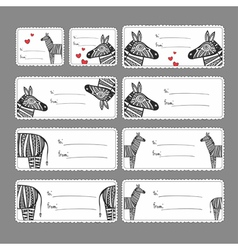 Gift tags with zebras vector image
