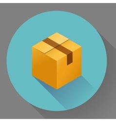 Icon of closed post cardboard box Flat style vector image