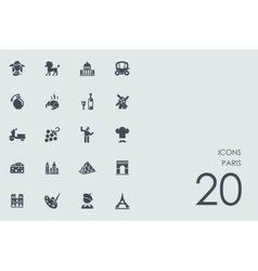 Set of Paris icons vector image vector image