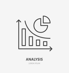 Analysis finance infographic flat line icon vector