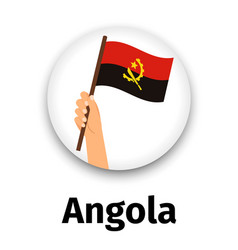 Angola flag in hand round icon vector