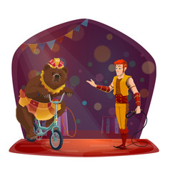 animal trainer bear riding bicycle circus show vector image