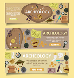 Archaeology banners web templates vector