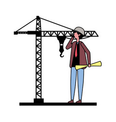 architect man with construction crane vector image