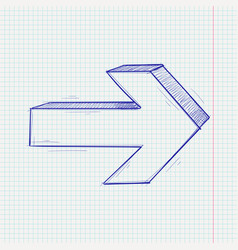 arrow sketch next sign blue hand drawn doodle on vector image