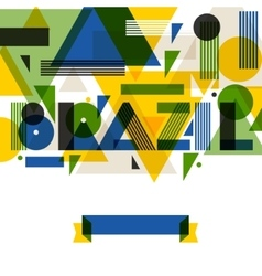 Background with Brazil in abstract geometric style vector