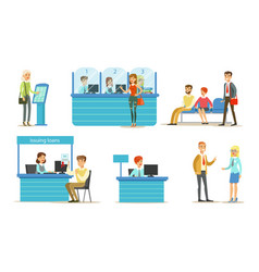 banking service set bank managers and clients vector image