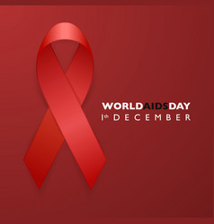Banner with aids awareness red ribbon aids day vector