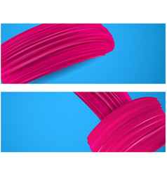 banner with pink paint brush strokes vector image