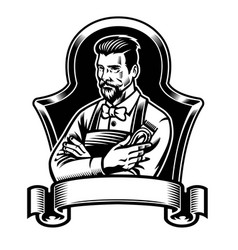 Barber holding clippers with blank ribbon for text vector