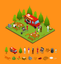 Bbq and parts isometric view vector