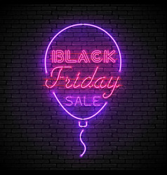 Black friday red neon sign with purple balloon vector