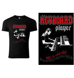 black t-shirt with sketch musician vector image
