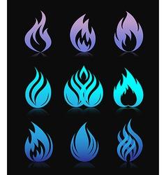 Blue design fire elements on black vector