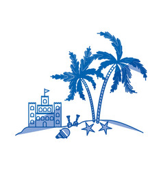 Blue shading silhouette of island with sand castle vector