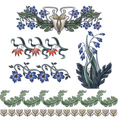 Border with flowers in art deco style modern vector