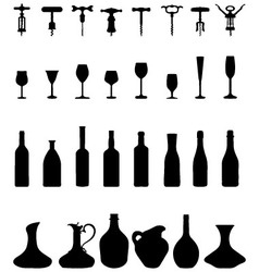 Bottles glasses and corkscrew vector