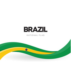 brazil flag wavy ribbon with colors brazilian vector image