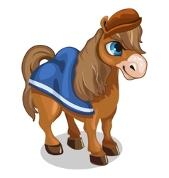 Brown horse in cartoon style on white background vector