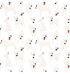 bull terrier in action seamless pattern vector image
