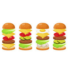 Burger ingredients four sets vector