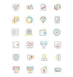 Business and Finance Colored Outline Icons 3 vector