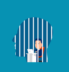 Businessman locked in head freedom concept vector