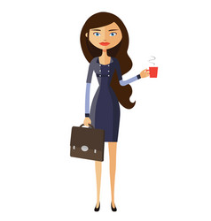 businesswoman with a cup of tea and teapot vector image
