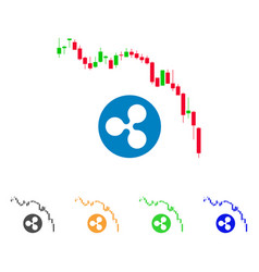 candlestick chart ripple fall icon vector image