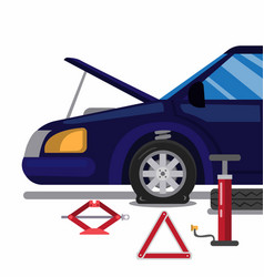 Car accident flat tire changing tire with toolkit vector
