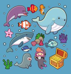 Cartoon characters cartoon cute set big set of vector