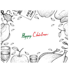 christmas and new year dinner frame on white backg vector image