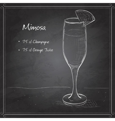 Cocktail alcohol Mimosa on black board vector image
