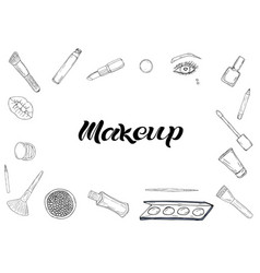cosmetics products fashion makeup banner vector image
