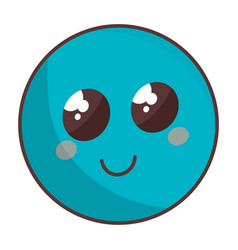 cute face emoticon kawaii character vector image