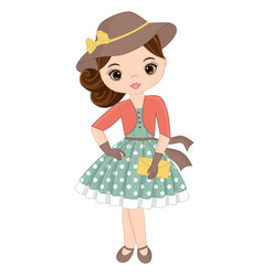 Cute little girl in retro style vector