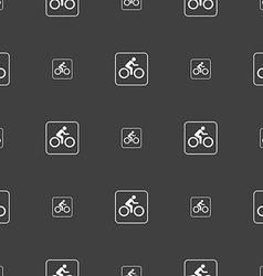 Cyclist sign Seamless pattern on a gray background vector